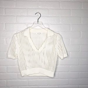 White Cream Knit Honey Punch Polo shirt M